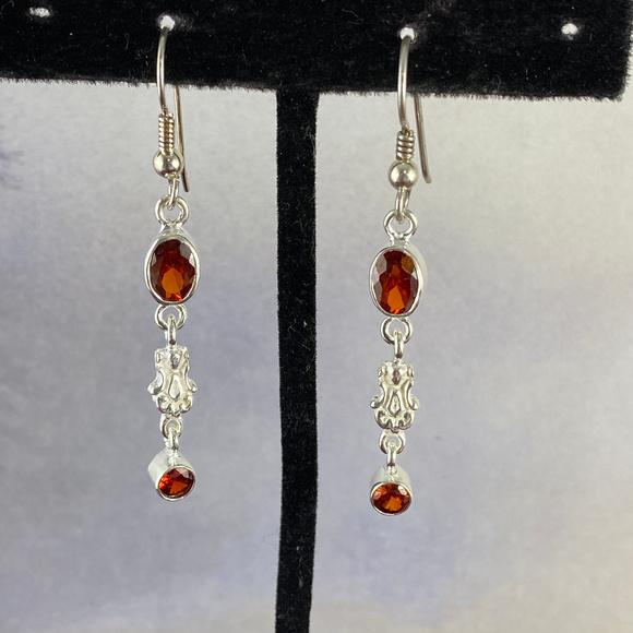 Gem Emporium Jewelry - Fire Garnet Sterling Silver Earrings 2 inch Drop